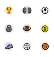 Sports equipment icons set pop-art style vector image