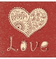 Vintage card with hearts vector image
