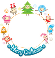 Christmas Ornaments Character Design Set On Circle vector image
