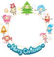 Christmas Ornaments Character Design Set On Circle vector image