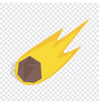 falling meteor with long tail isometric icon vector image