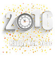 happy new year for 2016 with clock vector image