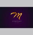 m gold golden alphabet letter logo icon design vector image