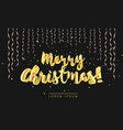 merry christmas gold lettering in 3d style and vector image