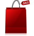 Red glance shopping bag with sale tag vector image