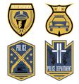set of vintage police law enforcement badges vector image
