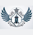 vintage decorative heraldic emblem composed with vector image