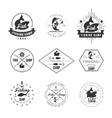 Vintage pike fishing emblems labels and design vector image