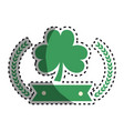 clover plant with ribbon and branches decoration vector image