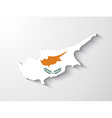 Cyprus map with shadow effect vector image