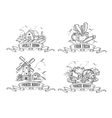 Farmers market logo set Farm Monochrome vector image