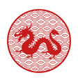 japanese mythical dragon in circle with pattern vector image