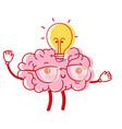 kawaii happy brain with bulb idea vector image