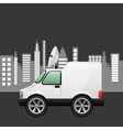 mini truck citi background design vector image