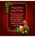 Red Christmas card with Golden frame for your text vector image