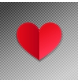 red paper heart shape origami with shadow vector image