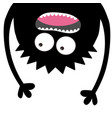 screaming monster head silhouette two eyes teeth vector image