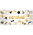 Carnival banner with gold icons and objects vector image