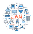 blue round lan concept vector image vector image