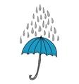 Doodle umbrella and raindrops vector image