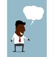 Happy black businessman with speech bubble vector image