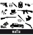 mafia criminal black symbols and icons set eps10 vector image