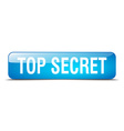 top secret blue square 3d realistic isolated web vector image
