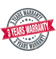 3 years warranty red round grunge vintage ribbon vector image