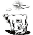 breeder intent to milk a cow vector image