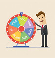 businessman with fortune s wheel business concept vector image