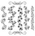 Floral patterns in black vector image