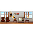 Living room full of vintage furniture vector image