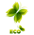 Eco logo - two green butterflies vector image vector image