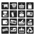 Black Simple Online Shop icons vector image