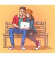 Young couple sitting on a bench and listen to vector image