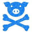 pig death icon grunge watermark vector image