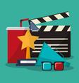 collection cinema movie glasses award soda speaker vector image