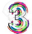 Colorful Number 3 vector image