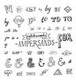 set of chalkboard style ampersands vector image