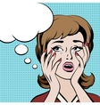 Crying frustrated woman with empty speech bubble vector image vector image