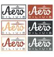aero club quote on vintage labels set vector image