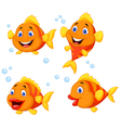 Cute fish cartoon collection set vector image