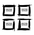 Square frames from abstract black textured strokes vector image