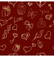 Valentines day ornate background hand-drawn vector image