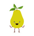 white background with pear fruit caricature vector image