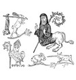 medieval element decorative hand drawn vector image
