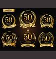 anniversary golden laurel wreath 50 years vector image vector image