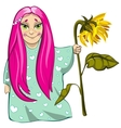 Small girl with sunflower vector image