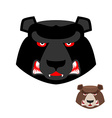 Angry bear head logo Aggressive Grizzly on white vector image