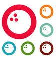 bowling icons circle set vector image